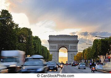 frankrijk, parijs, triomphe, boog, de