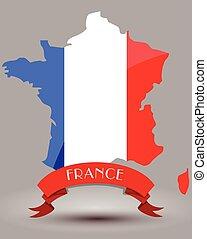 frankrijk vlag, kaart