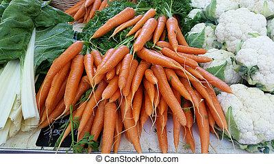 frankrijk, wortels, fris, alhier, lyon, organisch, markt, :