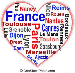 frankrike, hjärta, och, ord, moln, med, större, städer
