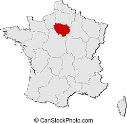 frankrike, karta, markerad, ile-de-frankrike