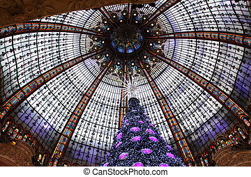 frankrike, paris, lafayette, träd, galeries, jul