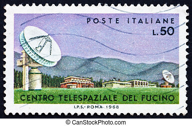 franqueo, 1968, antena, estampilla, italia, parabólico, ...
