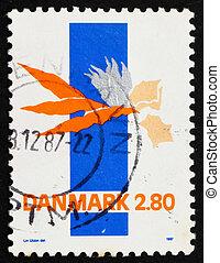 franqueo, 1986, estampilla, dinamarca, resumen, utzon, lin