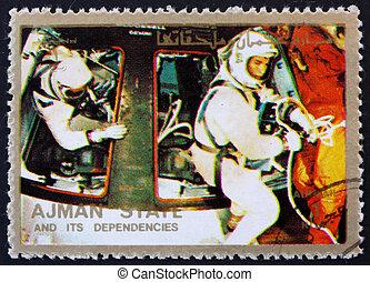 franqueo, ajman, estampilla, 1973, astronautas, módulo de mando