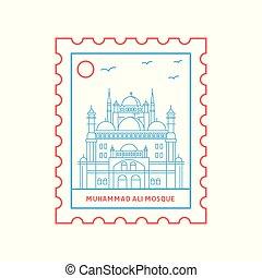 franqueo, azul, ali, estampilla, mezquita, ilustración,...