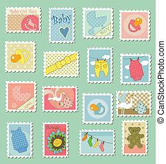 franqueo, bebé, sellos, tema