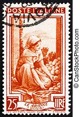 franqueo, clasificación, italia, estampilla, sicilia, 1950, naranjas