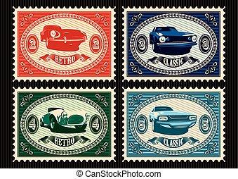 franqueo, coches, sellos, conjunto