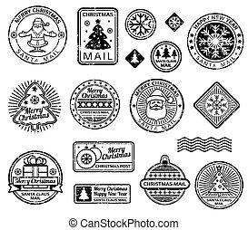 franqueo, conjunto, vendimia, sellos, vector, navidad