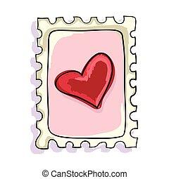 franqueo, corazón, rojo, estampilla