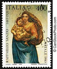 franqueo, italia, 1983, estampilla, raphael, sistine madonna