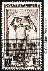 franqueo, italia, estampilla, albañil, 1950, lombardia