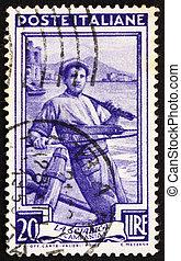 franqueo, italia, estampilla, campania, pescador, 1950