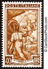 franqueo, italia, estampilla, lazio, 1950, carrito, vino