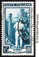 franqueo, italia, estampilla, liguria, construcción naval, 1950