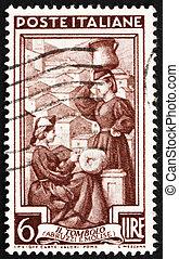 franqueo, italia, molise, estampilla, lace-making, abruzzi, 1950, e