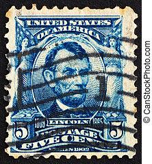 franqueo, lincoln, estados unidos de américa, estampilla, abraham, 1903