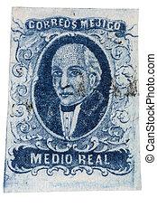 franqueo, méxico, estampilla, -, 1856, miguel, hidalgo,...
