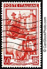 franqueo, marche, italia, estampilla, grano, 1950, carrito