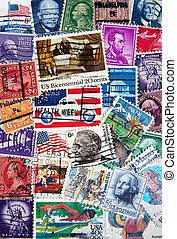 franqueo, norteamericano, sellos
