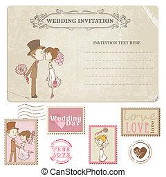 franqueo, postal, -, diseño, invitación, sellos, boda, álbum...