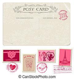 franqueo, postal, vendimia, -, diseño, invitación, sellos, ...