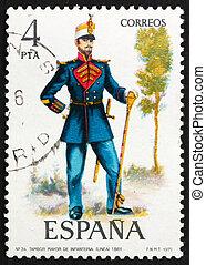 franqueo, tambor, estampilla, uniforme, 1977, 1861, militar, españa, mayor