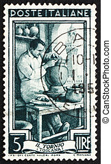 franqueo, toscana, italia, estampilla, 1950, alfarero