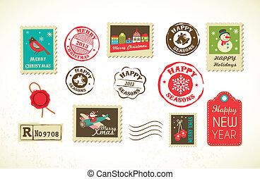 franqueo, vendimia, sellos, conjunto, navidad