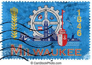 franqueo, wisconsin, sello viejo, bandera, milwaukee