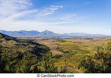 Franschhoek vineyard landscape, South africa panorama -...