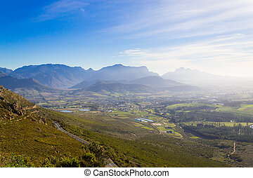 Franschhoek vineyard landscape, South africa panorama