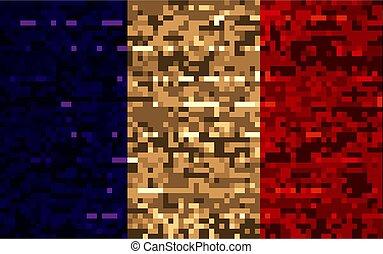franse , oud, vlag, geverfde, achtergrond, hout, plank
