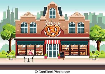 franse , winkel, winkel, bakkerij, illustratie, vector