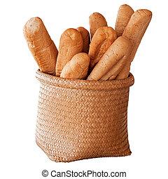 fransk brød, ind, kurv