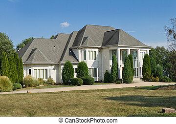 fransk, philadelphia, pennsylvania, stil, förorts-, slott, ensam släkt, hem