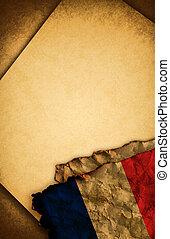 franska flagga, och, gammal, papper