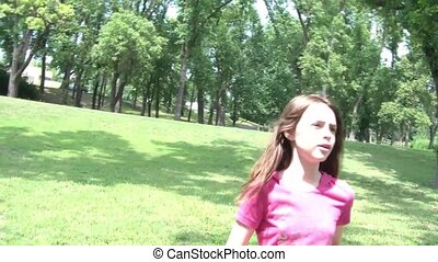 Frantic Girl Runs to Camera - Scared and lost young girl...