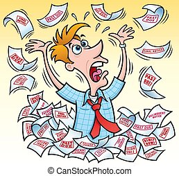 Cartoon illustration of a frantic man drowning in debt, with bills and notices falling from the sky and around him.