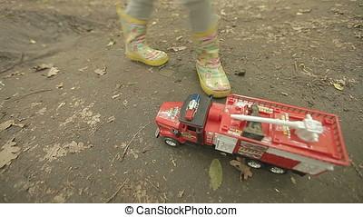 Frantically Running Around Fire Engine Truck - Little girl...