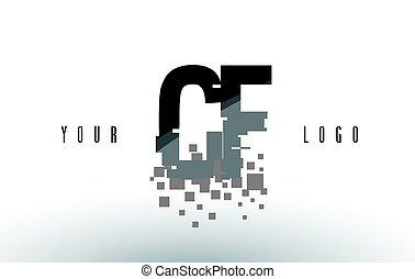 frantumato, c, f, cf, nero, lettera, digitale, logotipo, squadre, pixel