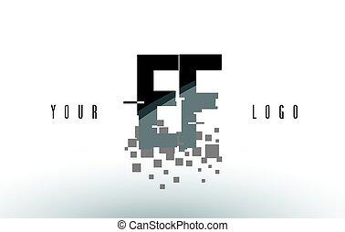 frantumato, e, f, ef, nero, lettera, digitale, logotipo, squadre, pixel