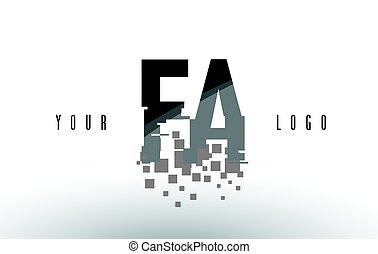 frantumato, f, fa, nero, lettera, digitale, logotipo, squadre, pixel