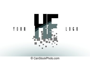 frantumato, f, h, nero, lettera, digitale, logotipo, squadre, hf, pixel