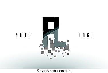 frantumato, f, l, nero, lettera, digitale, logotipo, squadre, fl, pixel