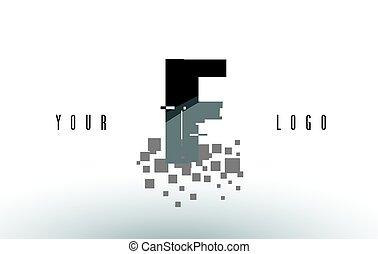 frantumato, f, nero, lettera, digitale, logotipo, squadre, pixel, se