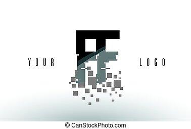 frantumato, ff, f, nero, lettera, digitale, logotipo, squadre, pixel