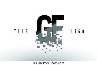 frantumato, g, f, gf, nero, lettera, digitale, logotipo, squadre, pixel