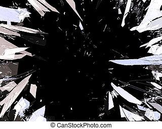 frantumato, isolato, pezzi, vetro, nero, demolito, o